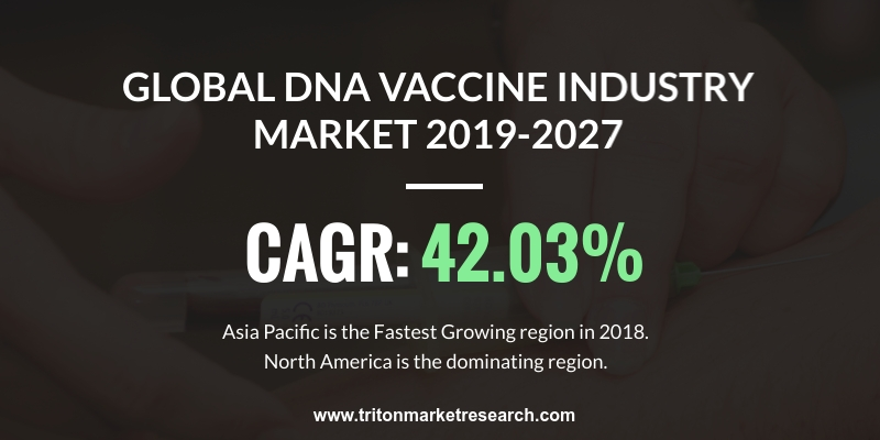 global DNA vaccines market is expected to display a positive market trend over the forecast period of 2019-2027, exhibiting a CAGR of 42.03%.