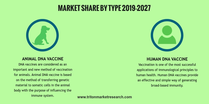 global DNA vaccines market has been segmented as follows:  •    By type:  O    Animal DNA vaccine  O    Human DNA vaccine  •    By application: